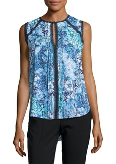 Elie Tahari Norma Floral-Print Sleeveless Blouse