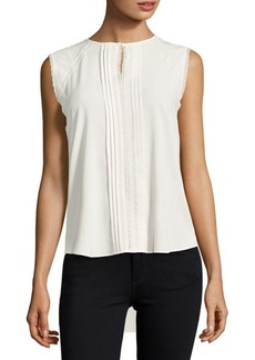 Elie Tahari Norma Sleeveless Pleated Blouse