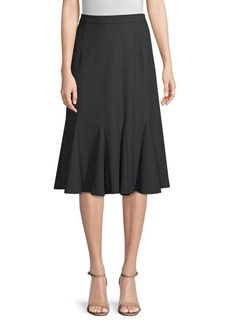 Elie Tahari Oakley Pinstripe Godet Pleat Skirt