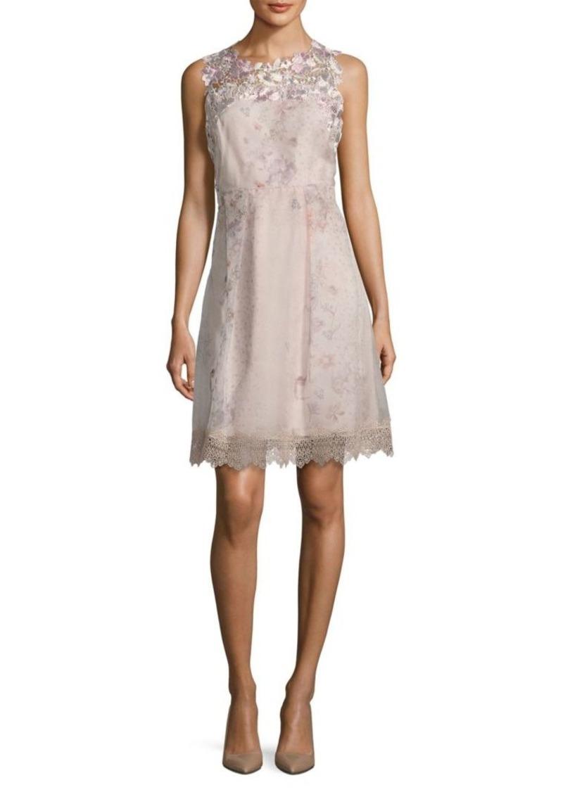 Elie Tahari Ohanna Floral-Print Silk Organza Dress
