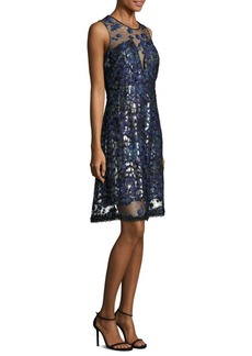 Elie Tahari Olive Embroidered Illusion Dress