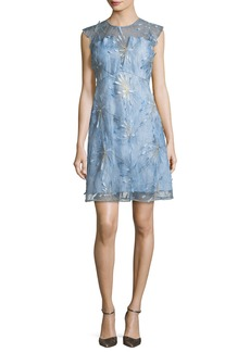 Elie Tahari Olive Floral-Appliqué Linen Dress