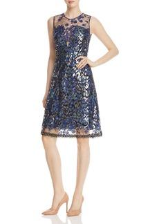 Elie Tahari Olive Mixed Media Dress