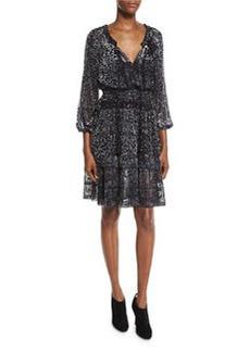 Elie Tahari Olsen 3/4-Sleeve Semisheer Floral-Print Dress