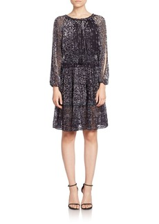 Elie Tahari Olsen Silk Burnout Dress