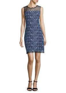 ELIE TAHARI Ophelia Embroidered Illusion Dress