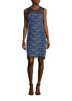 Elie Tahari Ophelia Embroidered Illusion Dress