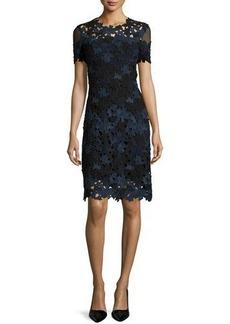 Elie Tahari Ophelia Short-Sleeve Lace Sheath Dress