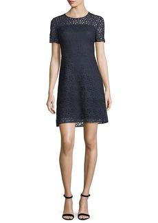 Elie Tahari Ophelia Short-Sleeve Starry Lace Dress