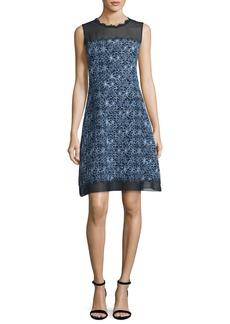 Elie Tahari Ophelia Sleeveless Floral-Print A-Line Dress