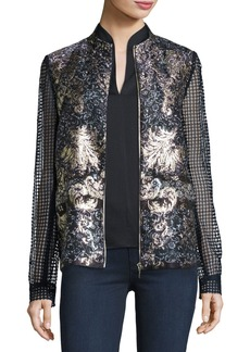 Elie Tahari Orchid Floral-Print Lace-Sleeve Jacket