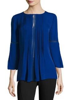 Elie Tahari Orion 3/4-Sleeve Pintucked Silk Blouse