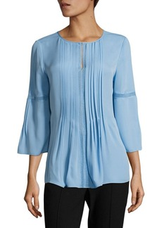 Elie Tahari Orion Pleated Silk Blouse