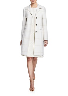 Elie Tahari Orla Windowpane Check Long Coat