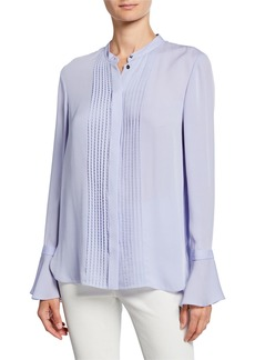 Elie Tahari Paige Button-Front Bell-Sleeve Silk Blouse