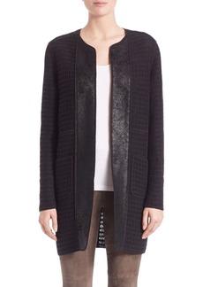 Elie Tahari Palmer Leather-Trim Coat