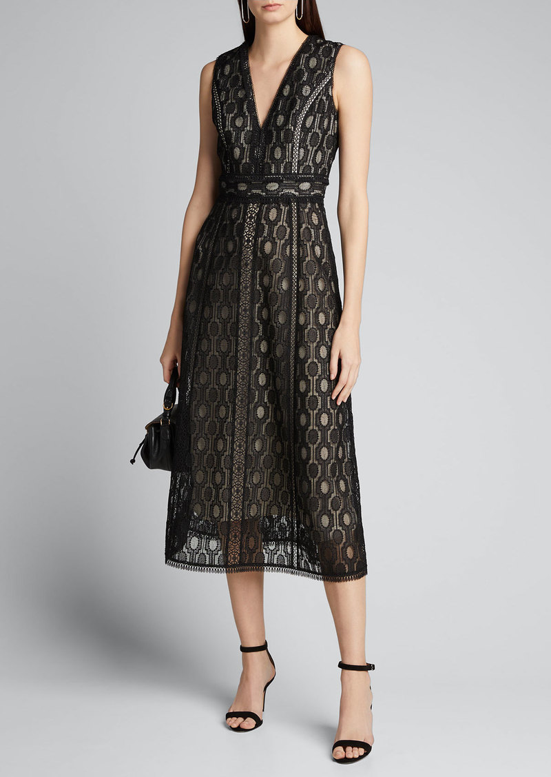 Elie Tahari Pax Crochet Sleeveless Midi Dress