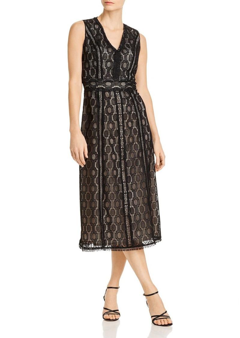Elie Tahari Pax Geometric Crochet Lace Dress