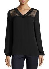 Elie Tahari Phoebe Long-Sleeve Tasseled Lace-Yoke Silk Blouse