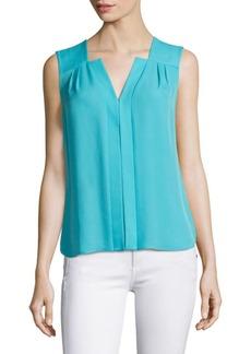 Elie Tahari Pleated Sleeveless Silk Top