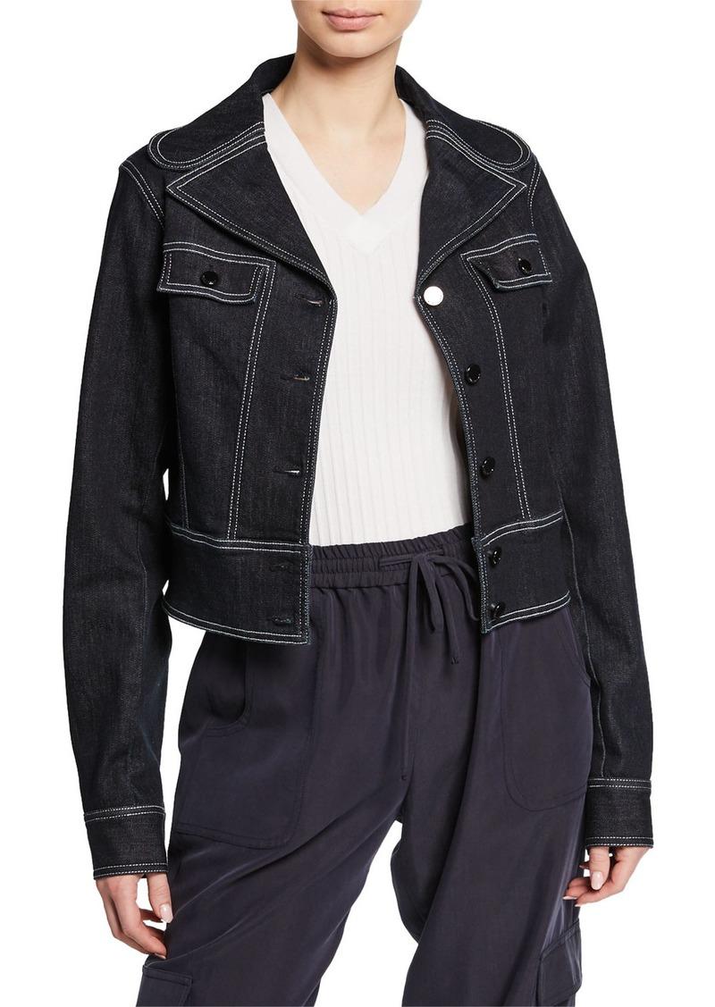 Elie Tahari Poppy Button-Front Denim Jacket w/ Contrast Stitching