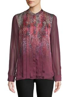 Elie Tahari Printed and Pleated Silk Blouse