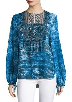 Elie Tahari Printed Long-Sleeve Top