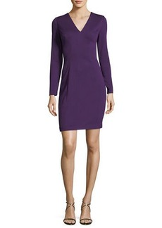 Elie Tahari Prisha V-Neck Long-Sleeve Dress