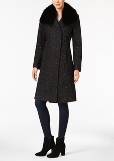 Elie Tahari Raccoon-Fur-Trim Boucle Walker Coat