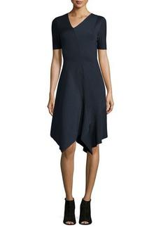 Elie Tahari Racinda Short-Sleeve Handkerchief Dress