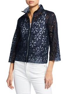 Elie Tahari Rainer Zip-Front Floral-Patterned Cropped Jacket