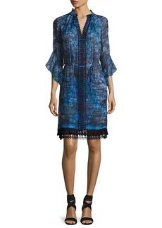 Elie Tahari Rayna 3/4-Sleeve Floral-Print Chiffon Dress