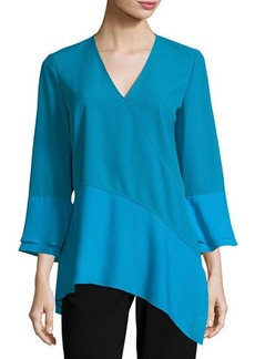 Reeva Long-Sleeve Seamed Knit Blouse