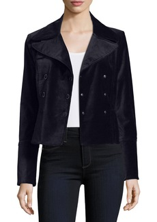 Elie Tahari Regina Double-Breasted Velvet Jacket