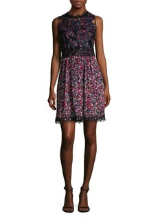 Elie Tahari Reign Printed Lace Top Dress