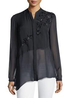 Remeleen Floral-Appliqué Silk Blouse