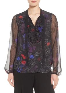 Elie Tahari Renata Ruffle Floral Silk Blouse
