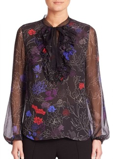 Elie Tahari Renata Silk Floral-Print Tie-Neck Blouse