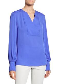 Elie Tahari Reva V-Neck Blouson-Sleeve Silk Blouse