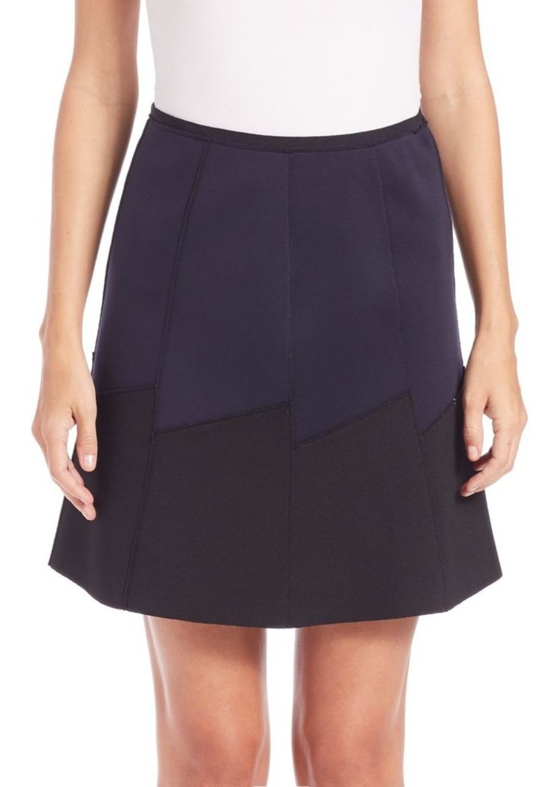 Elie Tahari Reversed Becky Neoprene-Paneled Skirt