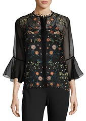 Elie Tahari Rienna Bell-Sleeve Embroidered Sheer Blouse