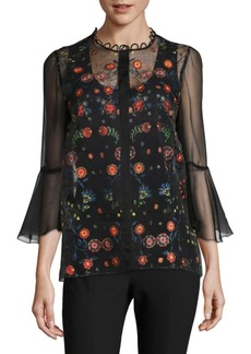 Elie Tahari Rienna Embroidered Organza Blouse