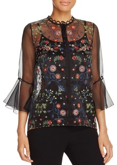 Elie Tahari Rienna Floral Embroidered Blouse
