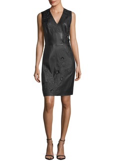 Elie Tahari Roanna Leather Sheath Dress