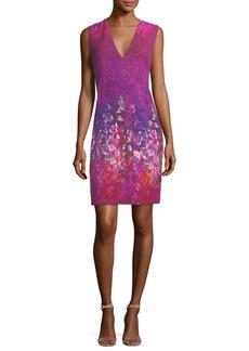 Elie Tahari Roanna Sleeveless V-Neck Printed Dress