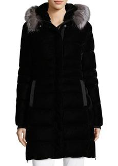 Elie Tahari Roberta Fox Fur Trim Quilted Velvet Coat