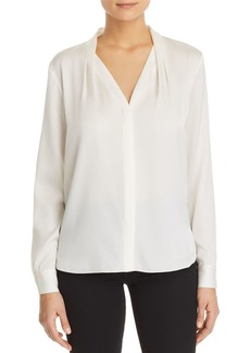 Elie Tahari Rosalina Pleated V-Neck Blouse