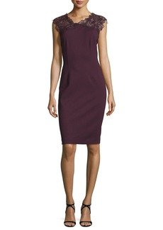 Elie Tahari Rosaly Lace-Yoke Sheath Dress