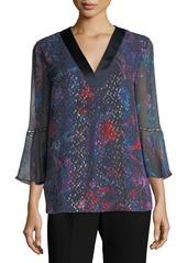 Elie Tahari Rose 3/4-Bell-Sleeve Floral Silk Blouse