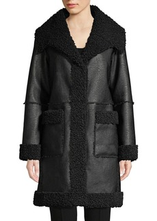 Elie Tahari Rosie Sherpa Lined Faux Leather Coat